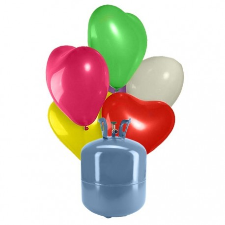 Botija de Hélio Mini com 30 Balões Coração