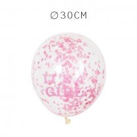 6 Balões de Confete It's a Girl 30 cm