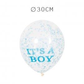 6 Balões de Confete It's a Boy 30 cm