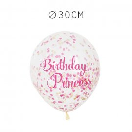 6 Balões de Confete Aniversário Princesa 30 cm