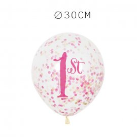 6 Balões de Confete Primeiro Ano Menina 30 cm