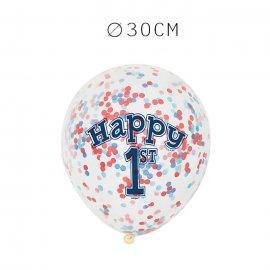6 Balões de Confete Primeiro Ano Menino 30 cm