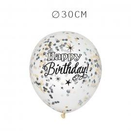 6 Balões de Confete Happy Birthday Elegante 30 cm