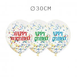 6 Balões de Confete Happy Birthday 30 cm
