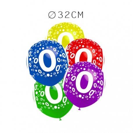 Balões Número 0 Redondos 32 cm