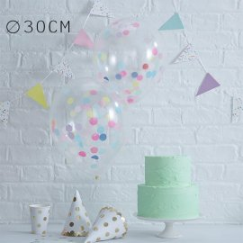 5 Balões de Confete Cores Pastel 30 cm