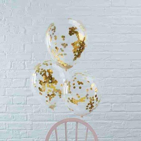 5 Balões com Confete Metalizado 30 cm