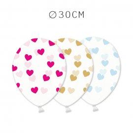 6 Balões com Corações 30 cm