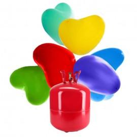 Botijão de Hélio Maxi com 50 Balões Coração