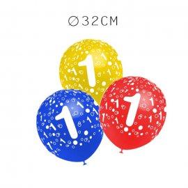 Balões Número 1 Redondos 32 cm