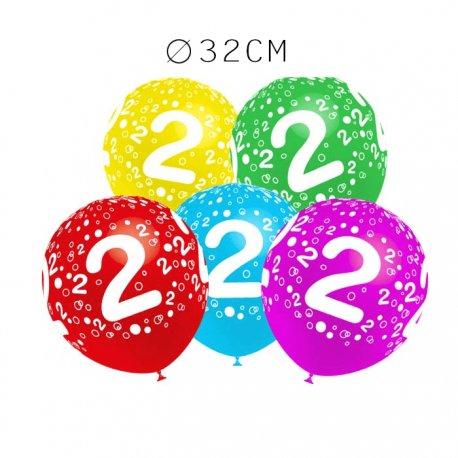 Balões Número 2 Redondos 32 cm