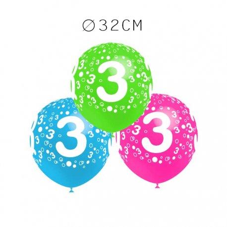 Balões Número 3 Redondos 32 cm