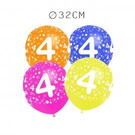 Balões Número 4 Redondos 32 cm