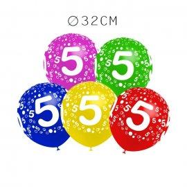 Balões Número 5 Redondos 32 cm