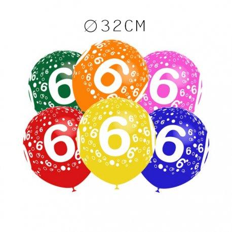 Balões Número 6 Redondos 32 cm