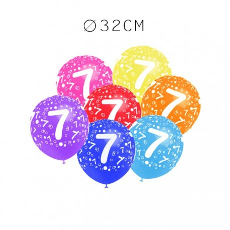 Balões Número 7 Redondos 32 cm