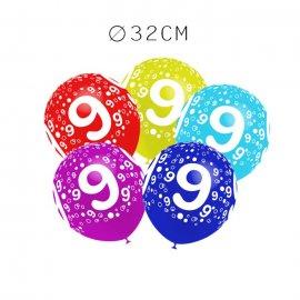 Balões Número 9 Redondos 32 cm