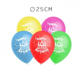 Balões Happy Birthday Pack Redondos 25 cm