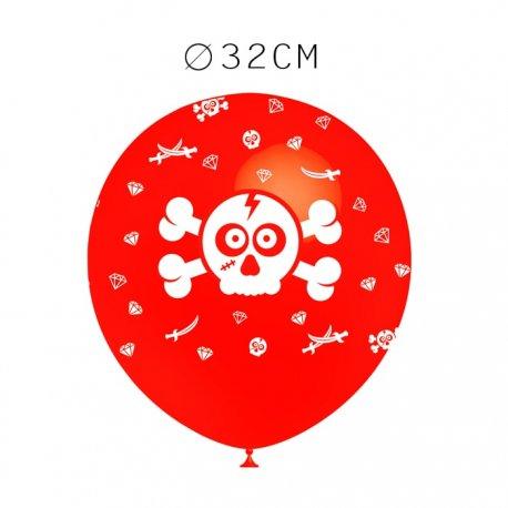 Balões Caveira Pirata Redondos 32 cm