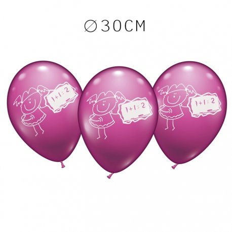 Balões Menina Matemáticas Redondos 30 cm
