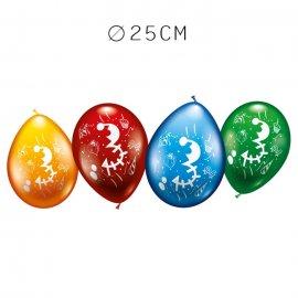 Balões Número 3 Redondos M02 25 cm