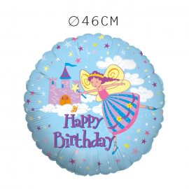 Balão Happy Birthday Fada Foil Redondo 46 cm
