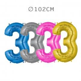 Balão Número 3 Foil 102 cm
