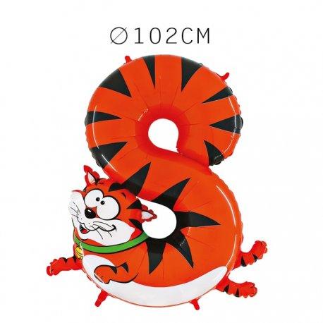 Balão Número 8 Tigre Foil 102 cm
