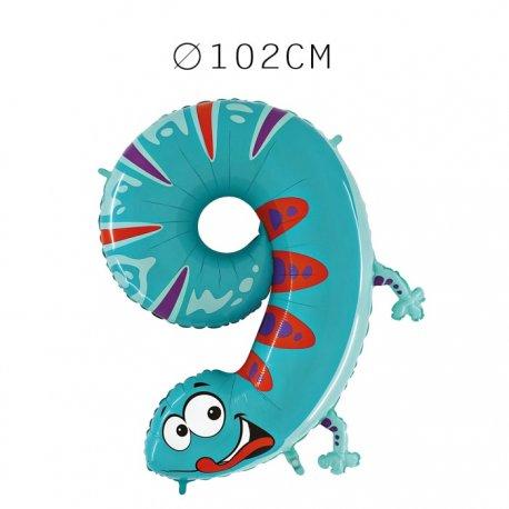 Balão Número 9 Salamandra Foil 102 cm