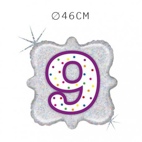 Balão Número 9 Foil Quadrado 46 cm
