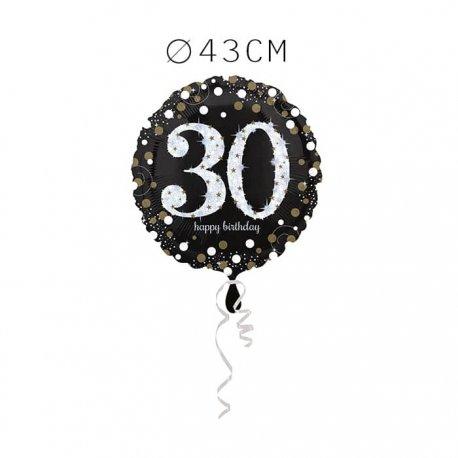 Balão Foil 30 Anos Elegante 43 cm