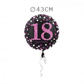 Balão Foil 18 Anos Elegante Pink 43 cm