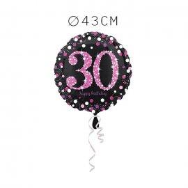 Balão Foil 30 Anos Elegante Pink 43 cm