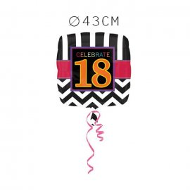 Balão Foil 18 Anos Chevron 43 cm