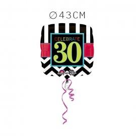 Balão Foil 30 Anos Chevron 43 cm