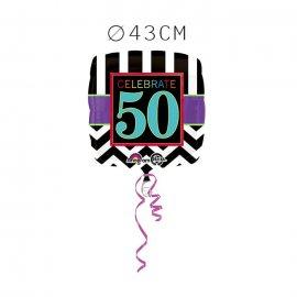 Balão Foil 50 Anos Chevron 43 cm