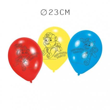 6 Balões Patrulha Canina Látex 23 cm