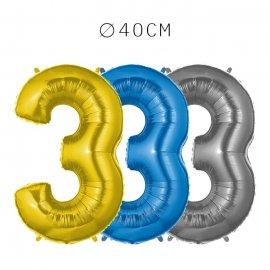Balão Número 3 Foil 40 cm