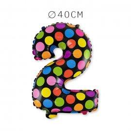 Balão Bolinhas Número 2 Foil 40 cm