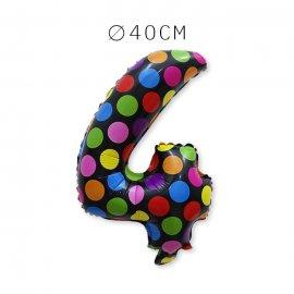 Balão Bolinhas Número 4 Foil 40 cm