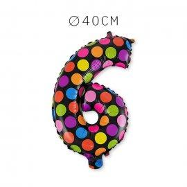 Balão Bolinhas Número 6 Foil 40 cm