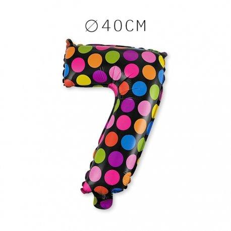 Balão Bolinhas Número 7 Foil 40 cm