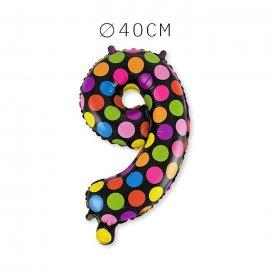 Balão Bolinhas Número 9 Foil 40 cm