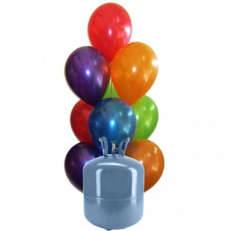 Botija de Hélio Mini com 30 Balões Metalizados