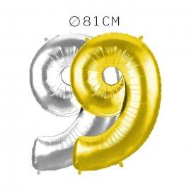 Balão Número 9 Foil 81 cm