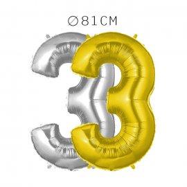 Balão Número 3 Foil 81 cm