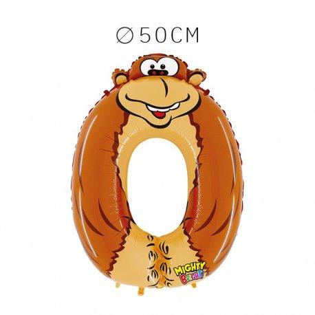 Balão Gorila Número 0 Foil 50 cm