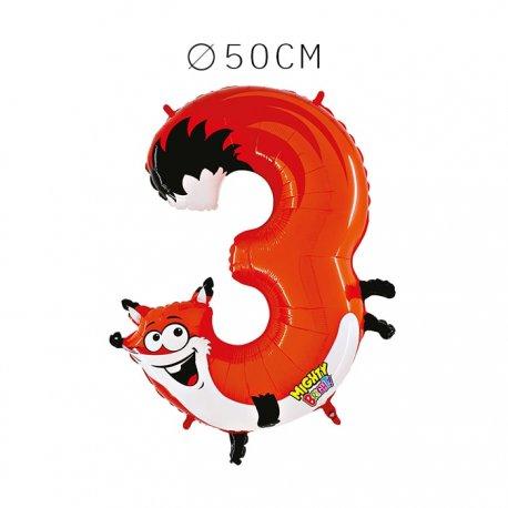 Balão Raposa Número 3 Foil 50 cm