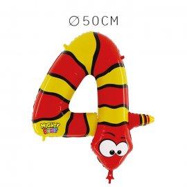Balão Serpente Número 4 Foil 50 cm