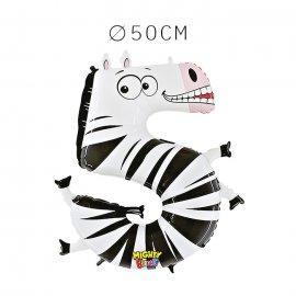 Balão Zebra Número 5 Foil 50 cm